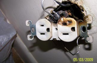 busted electrical outlet